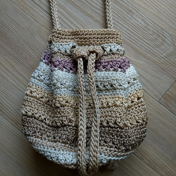 The Sak Bags Striped Beige Mexi Crochet Drawstring Bag Poshmark